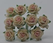 1.5cm OFF WHITE with BABY PINK CENTER Mulberry Paper Roses